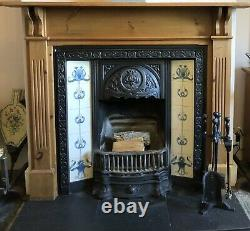 Beautiful Victorian Style Tiled Cast Iron Fireplace & Grate with Wooden Surround