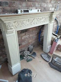 Beautiful Victorian Unusual Cast Iron Fireplace Surround with Tiles