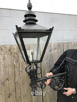 Black Lantern Victorian style lantern on short Cast iron Bracket Street light