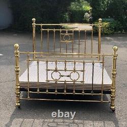 Brass Double Bed. Cast iron Base On Castors, Has 4ft-6 Base