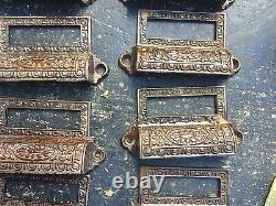 C1890 SET of 10 matching authentic VICTORIAN cabinet pull hardware 3 5/8 on hole