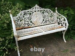 Cast Iron Bench Solid iron Garden Bench white decorative Victorian design