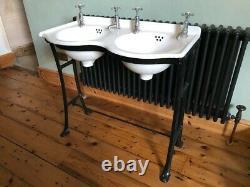 Cast Iron Double Basin Sink & Stand by Cannon Porceliron Antique Vintage 1900s