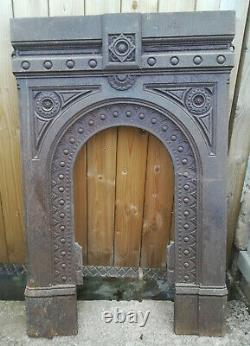 Cast Iron Fire Surround & Back Antique UNRESTORED Reclaimed Victorian
