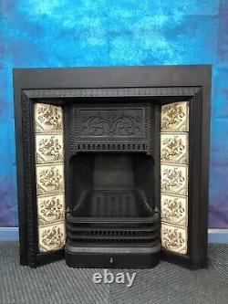 Cast Iron Fireplace with Antique original Tiles DELIVERY free or £35 most UK