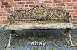 Cast Iron Garden Bench Dog Design Antique Style Wooden Seat Heavy