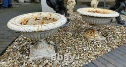 Cast Iron Pair of Urns Garden Victorian Antique Original