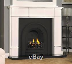Cast Iron Period Edwardian Victorian Georgian White Surround Fireplace Gas
