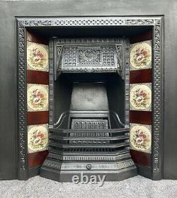 Cast Iron Tiled Fireplace / Fire Surround / Insert / Victorian Style Solid Fuel