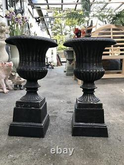 Cast Iron Urn Pair With Plinth Base Small Fluted Planter Cast Iron Plant Pots