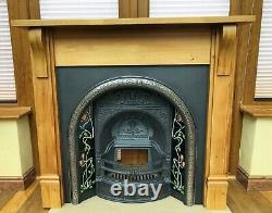 Cast Iron Victorian Style Fireplace Tiled Insert Solid fuel Pine Wood Surround