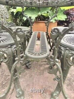 Charming Victorian Patio Garden Cast Aluminium Iron Large Family Table & Chairs