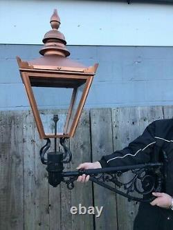 Copper Colour lantern on Large Cast iron Bracket