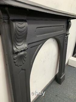 Early Victorian Original Cast Iron Surround/ Woodbu DELIVERY FREE OR £35 Uk