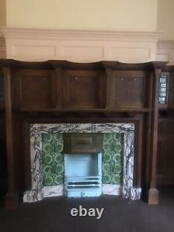 Edwardian cast iron Fireplace marble insert & wood fire Surround Mantel. Vintage