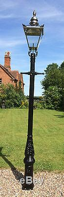 English street light Cast Iron Lamp Post 3.3 m Tall & silver steel lantern