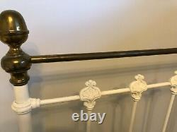 Genuine Victorian Double Bed Frame cast iron and brass knobs (includes Mattress)