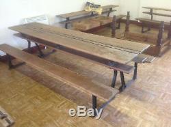 Gothic victorian Cast Iron-pitch Pine Metamorphic School Desk/chapel Benches