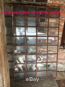 Huge Vintage Cast Iron Industrial Metal Mirror Window 32 Pane