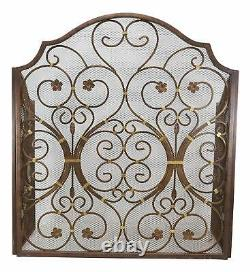 Large 53W Iron Rustic Vintage Victorian Floral Lace 3 Panel Fireplace Screen