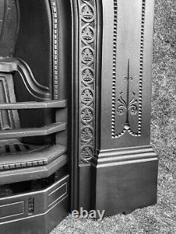 Large Antique Victorian Cast Iron Fireplace / Fire Surround, Arched, Uk Deliv