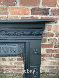 Large Victorian Restored Antique Cast Iron Bedroom Fire Surround / Fireplace