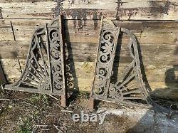 Large Victorian Vintage Cast Iron Canopy Brackets