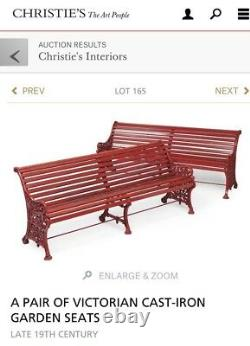 Late 19th Century Victorian Large Cast Iron Garden Bench