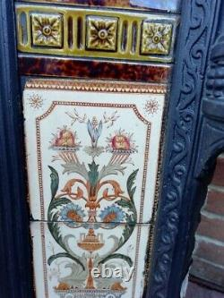 Late Victorian Cast Iron Fire Surround With Original Tiles