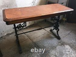 Old Original Antique Victorian Coalbrookdale Cast Iron Wooden Oak Garden Table