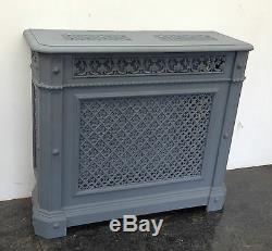 Original Antique Cast Iron Victorian Church Ornate Radiator Cover Shelf (BL484)