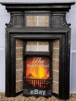 Original Antique Cast Iron Victorian Combination Fireplace with 15 Minton Tiles