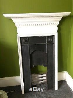 Original Antique Victorian Cast Iron Wood Combination Fireplace Vintage Bedroom