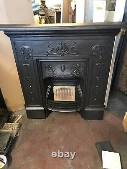 Original Late Victorian Art Nouveau Cast Iron Fireplace