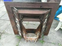 Original Late Victorian Marble Effect Slate Fire Surround Cast Iron Tiled Insert