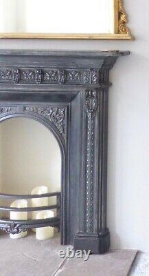 Original Ornate Decorative Victorian Cast Iron Fire Surround