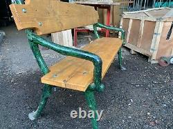 Original Reclaimed Heavy Victorian Cast Iron Garden Bench With Padded Feet