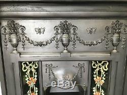 Original Restored Antique Cast Iron Victorian Tiled Fireplace Insert (QP037)