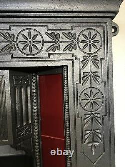 Original Restored Antique Cast Iron Victorian Tiled Fireplace Insert Small TA453