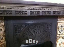 Original Restored Antique Cast Iron Victorian Tiled Insert Fireplace (EM093)
