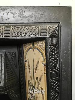 Original Restored Antique Cast Iron Victorian Tiled Insert Fireplace (TA275)