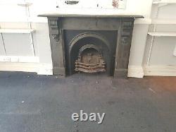 Original Slate Fireplace Surround With Original Cast Iron Fire grate Insert