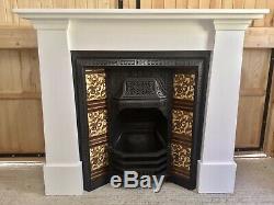 Original Victorian (1892) Tiled Cast Iron Fireplace Insert & Painted Surround