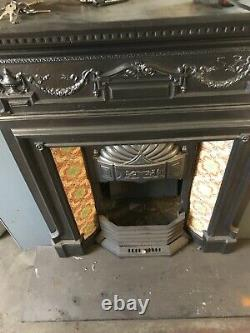 Original Victorian Cast Iron Tiled Fireplace