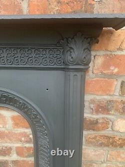 Original Victorian Restored Antique Cast Iron Bedroom Fireplace / Fire Surround