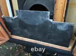 Original Victorian black cast iron arched fireplace insert with slate hearth