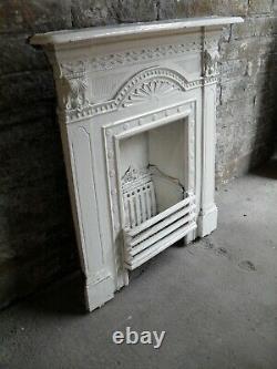 Original Victorian cast iron fireplace antique combination fire surround feature