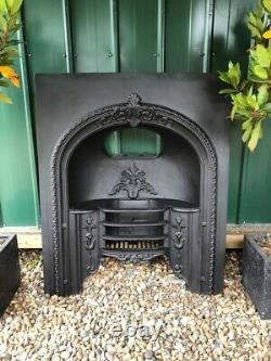Ornate Victorian Antique Cast Iron Hob Grate Insert Fireplace