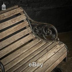 Ornate Victorian Cast Iron Garden Bench with Hardwood Slats