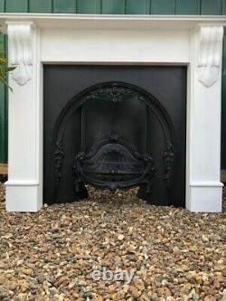 Outstanding Beautiful Quality Cast Iron Arched Fireplace White Wooden Surround